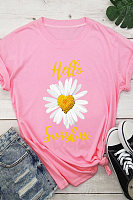 Small Daisy Printed Crew Neck Casual Short Sleeve T-Shirt
