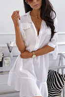 Deep V Neck  Plain  Half Sleeve Casual Dresses