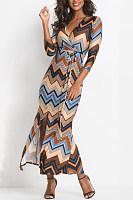 V Neck  Lace Up  Striped  Three Quarter Sleeve Maxi Dresses