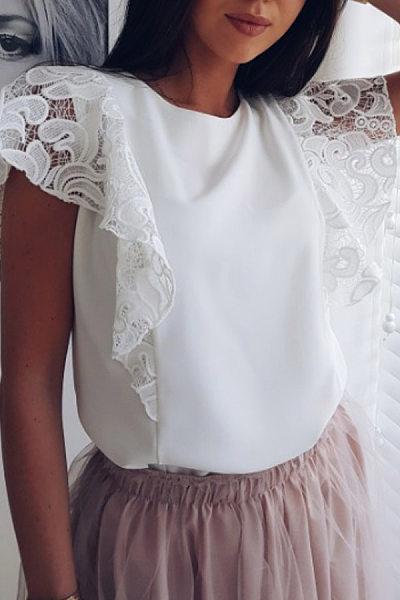 Round Neck  Decorative Lace  Plain  Blouses