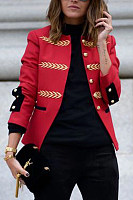 Fashion Single-Breasted Long Sleeve Button Decoration Blazer