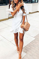Surplice  Asymmetric Hem  Plain  Bell Sleeve  Short Sleeve Casual Dresses