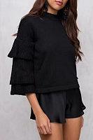 Round Neck  Flounce  Petal Sleeve Sweaters