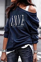 Fashion round neck print love Sweatshirt