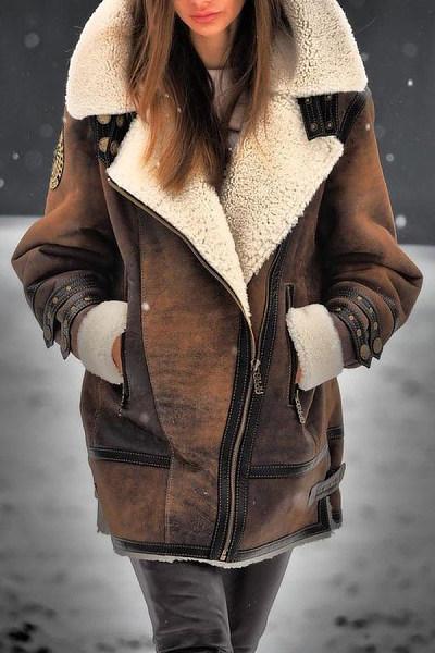 Fold-Over Collar Warm Outerwear