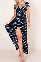 Deep V Neck  Dot  Short Sleeve Maxi Dresses