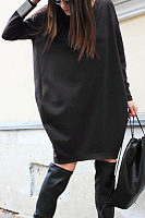 Casual Round Collar Loose Plain Soft  Dress