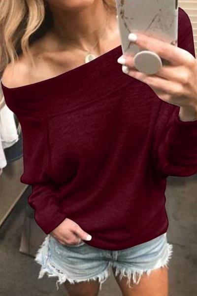 One  Shoulder  Plain  Sweatshirts