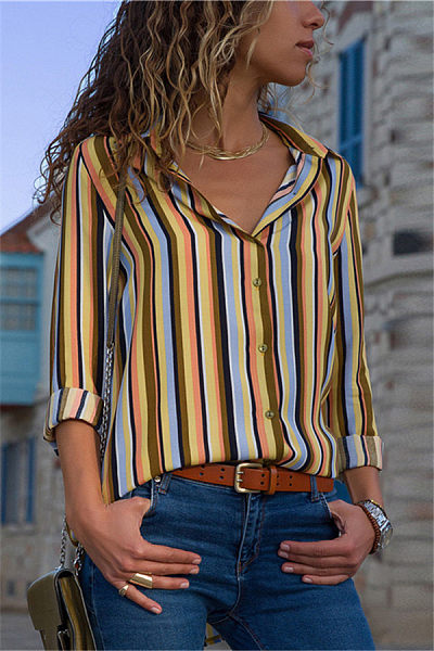 Casual Striped Long-Sleeved V-Collar Chiffon Shirt