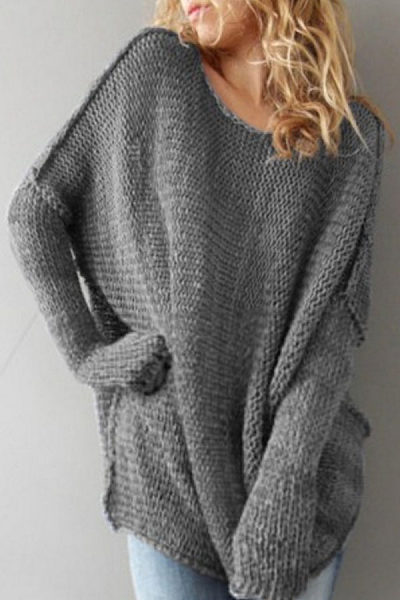 Casual Boat Neck Sweaters