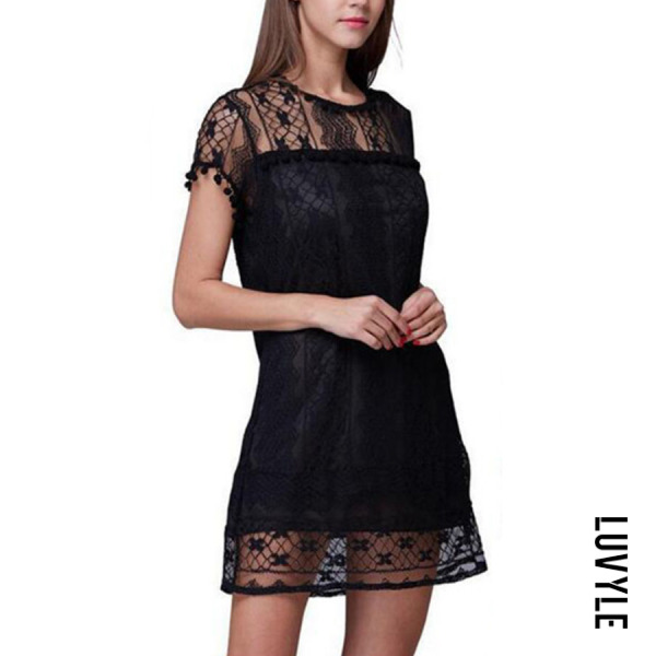 Black Round Neck Tassel Lace Plain Casual Dresses Black Round Neck Tassel Lace Plain Casual Dresses