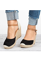 Color Block  High Heeled  Velvet  Ankle Strap  Round Toe  Casual Date Wedge Sandals
