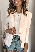 Solid Color One Button Blazer