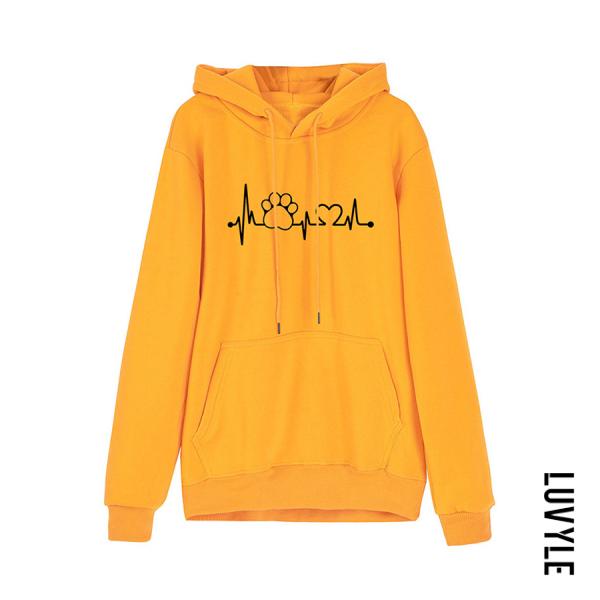 Yellow Women's Long Sleeve Printed Hoodie Yellow Women's Long Sleeve Printed Hoodie