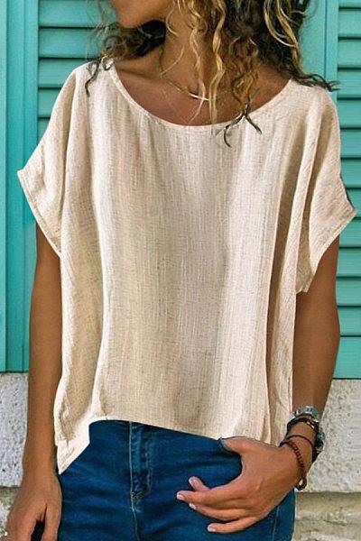 Brief Pure Color Round Neck Shirt