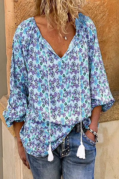 Casual V-Neck Tie Printed Long-Sleeved Shirt