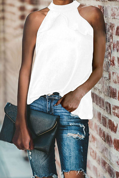 Casual Scalloped Sleeveless T-Shirt