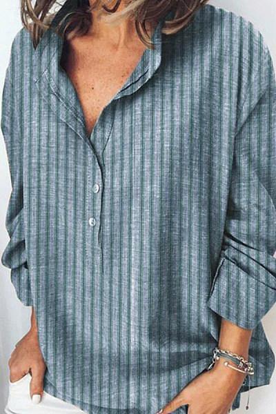 V Neck Striped Long Sleeve Blouse