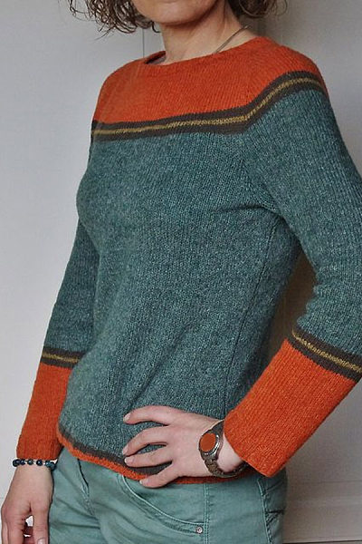 Women's Casual Round Neck Colouring Knit Sweater