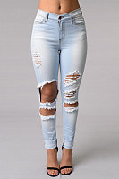 Broken Holes Slim Leg Jeans