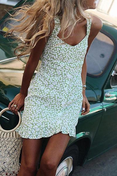 Fashion Strap Print Slim Fit   Mini Dress