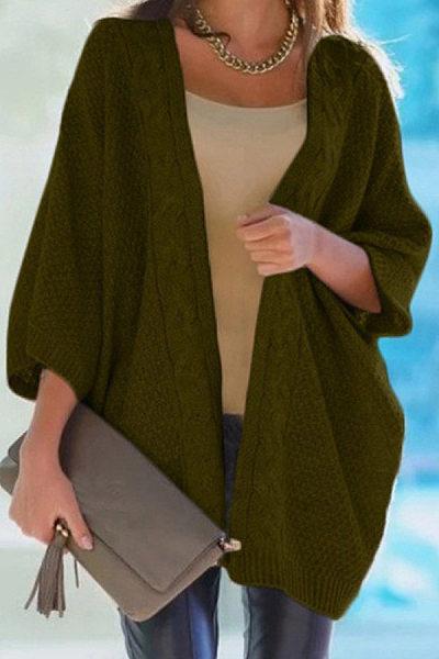 Casual Collarless Batwing Sleeve Plain Knit Cardigan