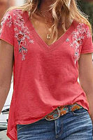 Casual V Neck Embroider Short Sleeve Loose T-Shirt