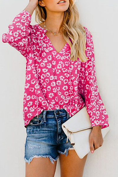 3a848634220c1d V Neck Lace Up Long Sleeve Floral Printed Casual Blouses - Luvyle.com