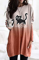 Casual Cat Print Gradient Pocket T-shirt