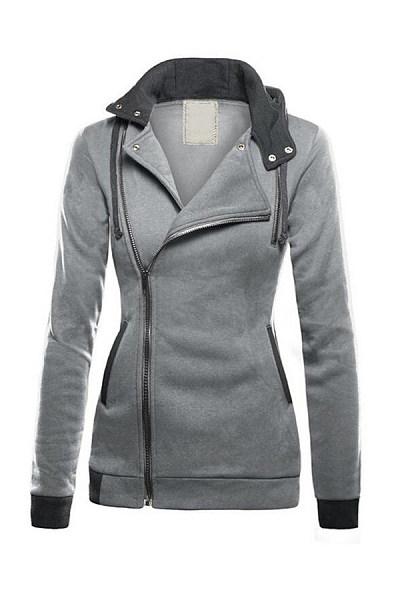 Hooded Zips Long Sleeve Plain Outerwear