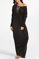 Round Neck Loose Fitting Plain Maxi Dress