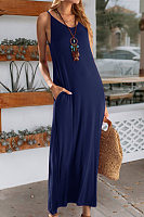 Sling Solid Color Home Maxi Dress