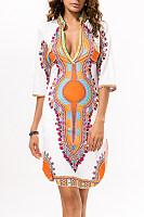 Exotic V Neck Printed Shift Casual Dress