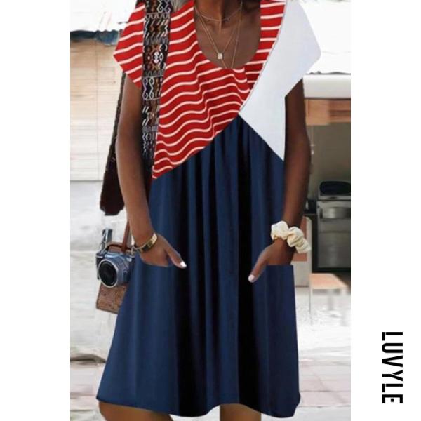 Womens Striped Colorblock Loose Dress