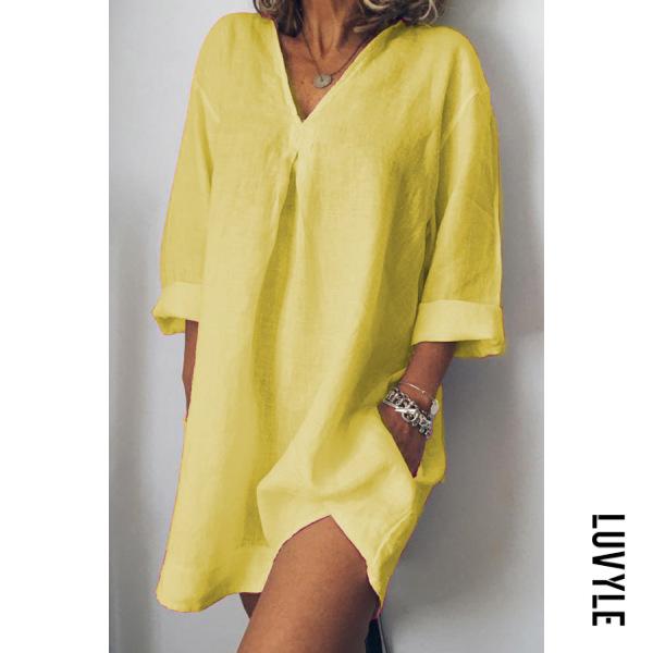 Yellow V-Neck Linen Plain Shift Dress Yellow V-Neck Linen Plain Shift Dress