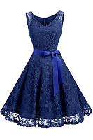 V-Neck Bowknot Hollow Out Plain Lace Skater Dress