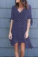 Scoop Neck  Asymmetric Hem  Dot  Half Sleeve Casual Dresses