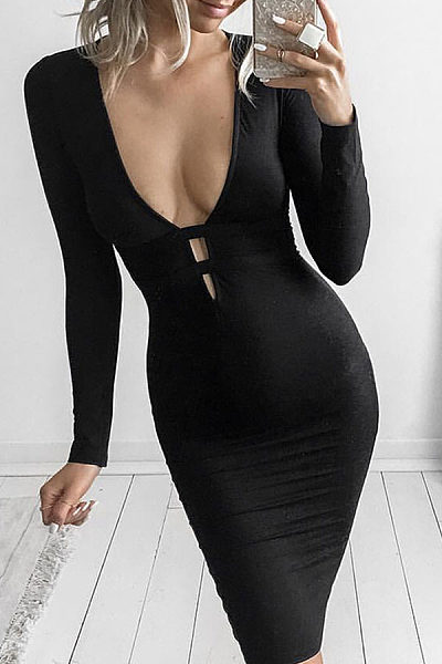 Deep V Neck  Cutout  Plain  Long Sleeve Bodycon Dresses