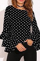 Polka Dot  Bell Sleeve Blouses