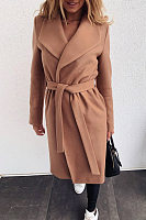 Folded Belt Solid Color Coats