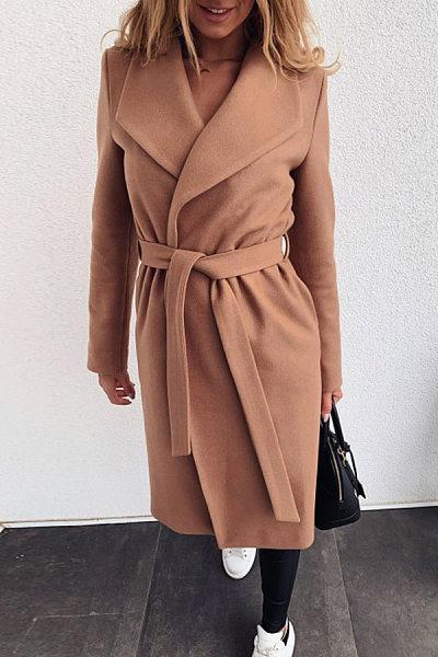 Folded Belt Solid Color Coats
