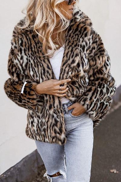Fashion Fold-Over Collar Leopard Outerwear