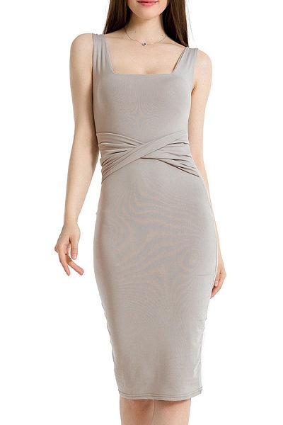 Square Neck  Plain  Sleeveless Bodycon Dresses
