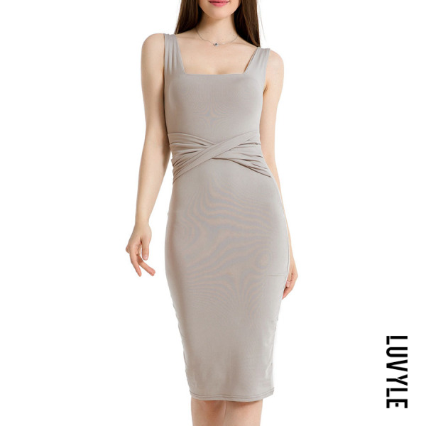 Gray Square Neck Plain Sleeveless Bodycon Dresses Gray Square Neck Plain Sleeveless Bodycon Dresses