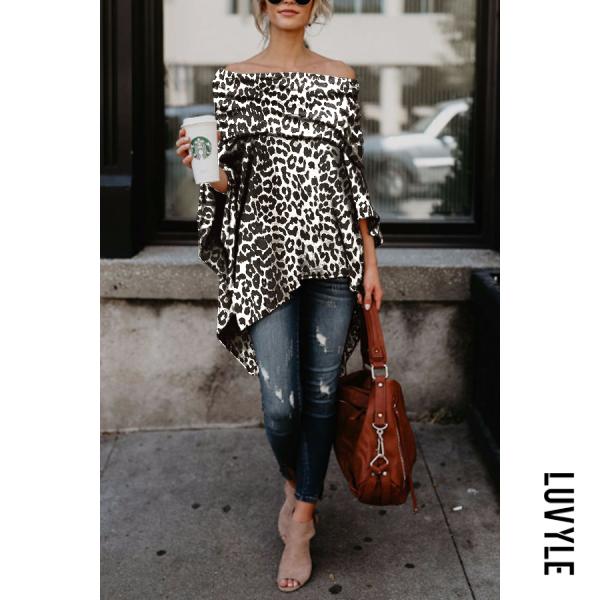 White Black Off Shoulder Leopard Printed Asymmetric T-Shirts White Black Off Shoulder Leopard Printed Asymmetric T-Shirts