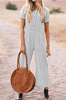Round Neck  Striped  Short Sleeve Jumpsuits