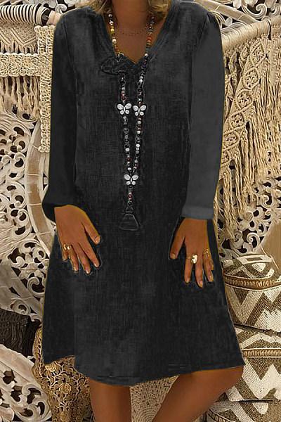 Casual Solid Color V-Neck Loose Long-Sleeved Dress