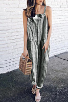 Spaghetti Strap  Striped  Sleeveless  Basic Jumpsuits