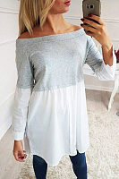 Round Neck  Single Breasted  Patchwork  Blouses