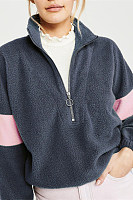 Casual Zipper Stitching Long Sleeves Contrast Color Sweatshirts